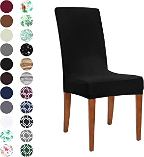 Obstal Black Stretch Spandex Dining Room Chair Covers – Set of 4 Universal Removable Washable Chair Seat Slipcovers Protector for Kitchen, Ceremony, Wedding, Banquet, Hotel and Party
