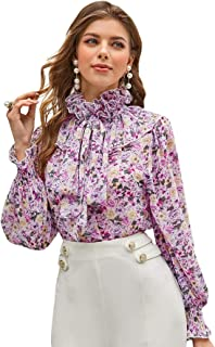 Floerns Women's Tie Neck Ruffle Trim Floral Printed Blouse Tops