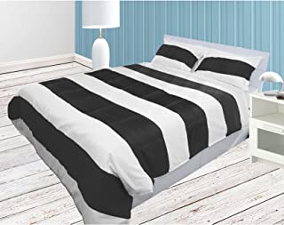 The Forty Winks Designer Chic Ruched 3PCs Duvet Set With Zipper & Corner Ties 100% Egyptian Cotton 600 Thread Count (Full/Queen, White and Black)