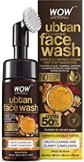 WOW Skin Science Ubtan Foaming Face Wash with Built-In Face Brush for deep cleansing - No Parabens, Sulphate, Silicones & ...