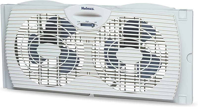 Holmes Window Fan With Twin 6 Inch Reversible Airflow Blades White