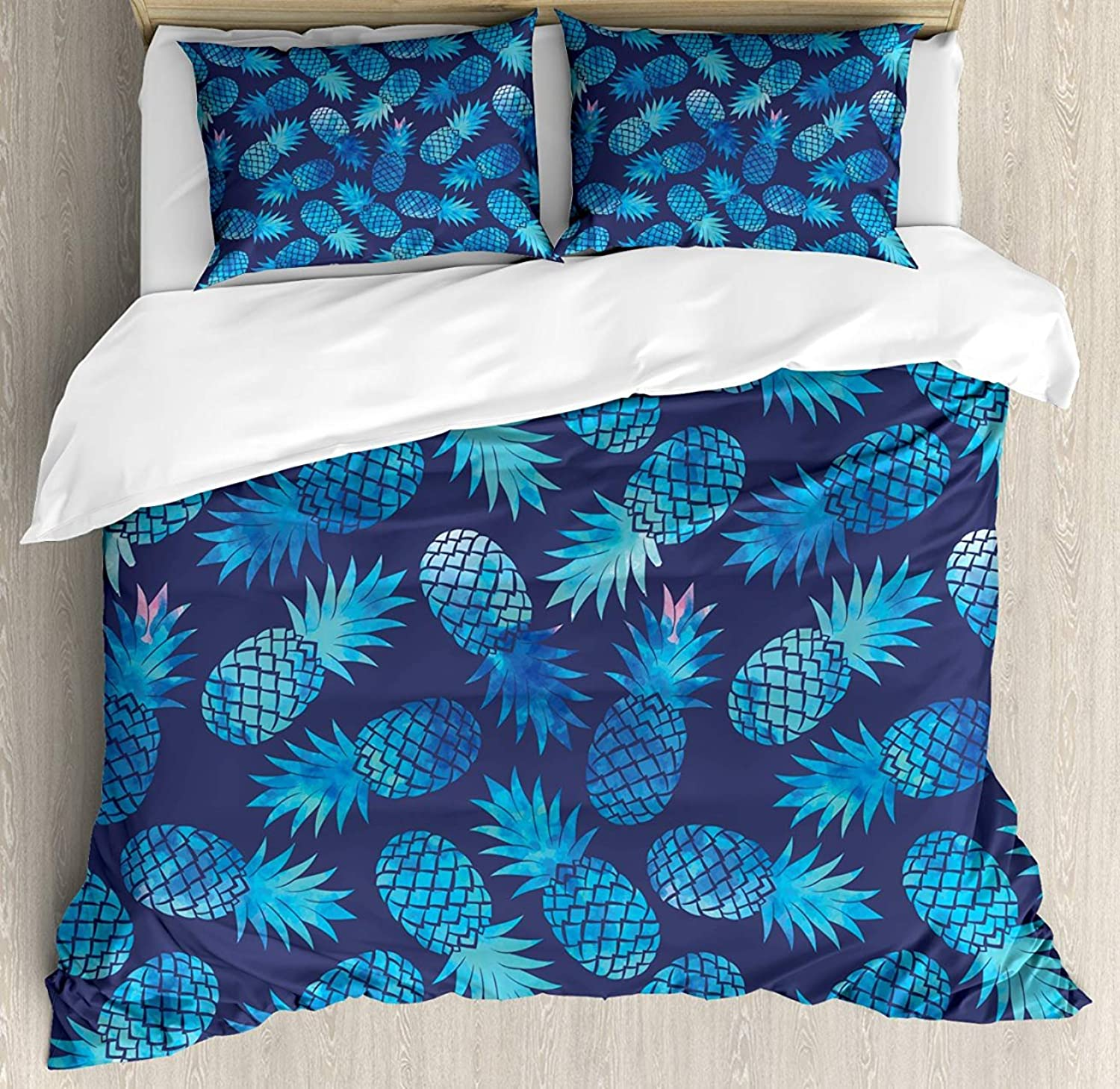 Z&L Home King Size Modern Luxury Soft Duvet Cover Set, Pineapple Figures Pattern Exotic Fruit in Digital Watercolor Illustration, Decorative 4 Pieces Bedding Sets, Night bluee Turquoise