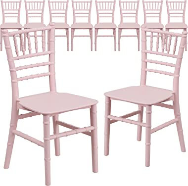 Flash Furniture 10 Pack Kids Pink Resin Chiavari Chair