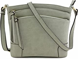 Triple Zipper Pocket Medium Crossbody Bag