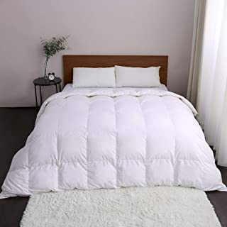 Antar Home Ultra Lightweight All Season Feather Comforter, Duvet Insert Queen, 100% Cotton Shell, Real Filling 95% Feather, Hypoallergenic (White)