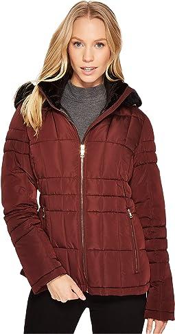 Calvin Klein - Puffer Short with Detachable Fur Trimmed Hood