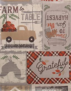 """Bountiful Harvest Farm to Table Country Patchwork Vinyl Flannel Back Tablecloth (Gray Accents, 52"""" x 52"""" Square)"""