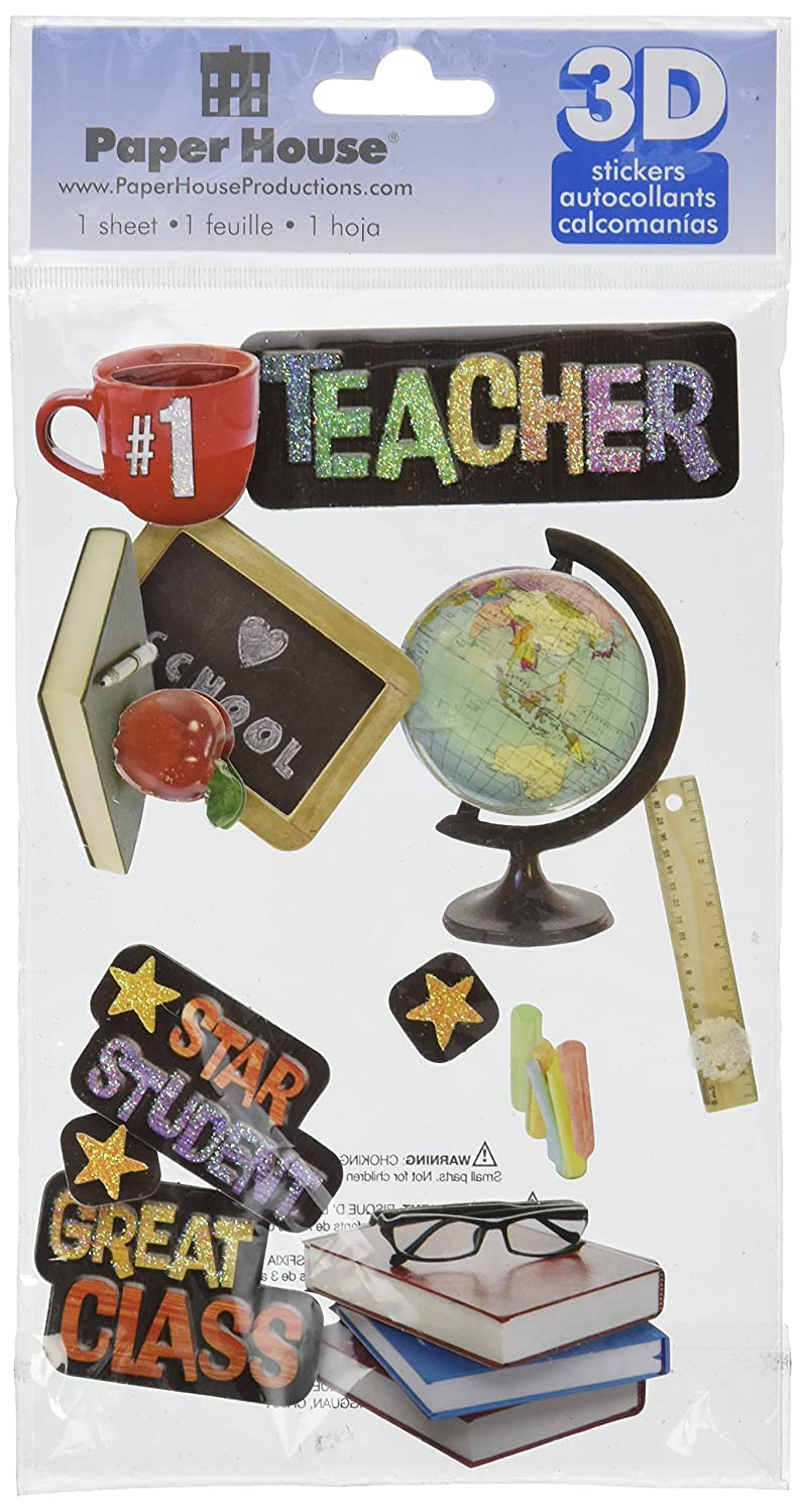 Paper House Productions STDM-0054E 3D Cardstock Stickers, Teacher (3-Pack)