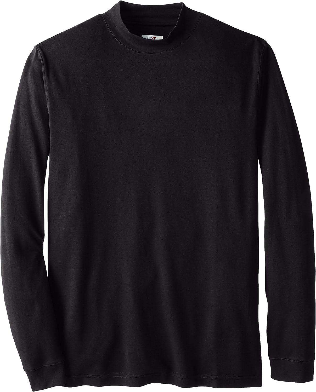 Cutter & Buck Men's Big and Tall Brokers Bay Mock Shirt, Black, 1XL