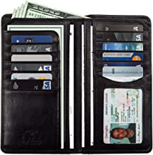 Large Leather Bifold Wallet Breast Pocket Checkbook Organizer with ID Window Multi Business & Credit Card Slots for Men and Women made with Real Italian Cowhide Leather by Tony Perotti