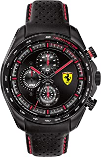 Ferrari Men's SPEEDRACER Stainless Steel Quartz Watch with Leather Calfskin Strap, Black, 22 (Model: 0830647)