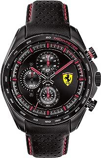 Men's SPEEDRACER Stainless Steel Quartz Watch with Leather Calfskin Strap, Black, 22 (Model: 0830647)