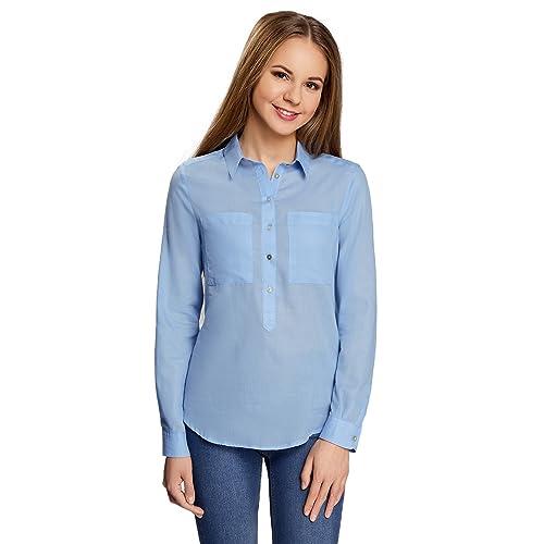 de5c2351302ed oodji Ultra Mujer Camisa Ancha de Algodón