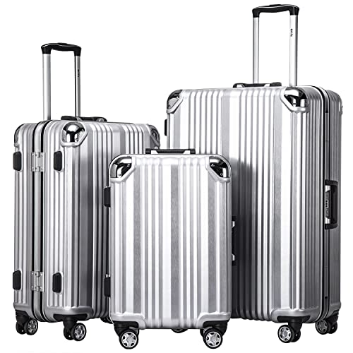 b92c50d64 Coolife Luggage Aluminium Frame Suitcase 3 Piece Set with TSA Lock 100% PC  (SLIVER