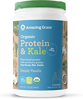 Amazing Grass Organic Vegan Protein & Kale Powder: 20g of Plant Based Protein per serve plus 1 cup of Greens, Vanilla Flavor, 15 Servings