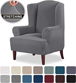 High Stretch Wingback Chair Slipcover Wing Chair Covers Wingback Chair Covers Wing Chair Slipcovers Furniture Covers for Wingback Chairs, Soft Thick Small Checked Jacquard Fabric, Grey