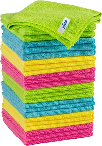 MR.SIGA chiffon nettoyant microfibre de quatre couleurs lot de 24, dimension: 32 x 32 cm -par MR.SIGA