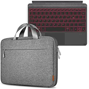Inateck Surface Go Keyboard with Sleeve, Bluetooth 5.1, 7-Color Backlight, Compatible with Surface Go 1 and Go 2, Bundle Product, KB02009 Black and LB02009-11 Gray