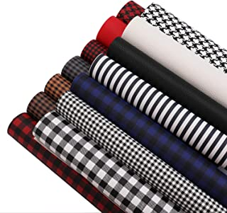 Suwimut 14 Pack Plaid Faux Leather Sheets, 11.8 x 7.8 Inches Buffalo Printed Synthetic Leather Fabric Sheets for Bags, Ear...