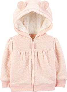 Baby Girls' Hooded Sweater Jacket with Sherpa Lining
