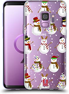 Head Case Designs Snowman Christmas Illustration Soft Gel Case Compatible for Samsung Galaxy S9