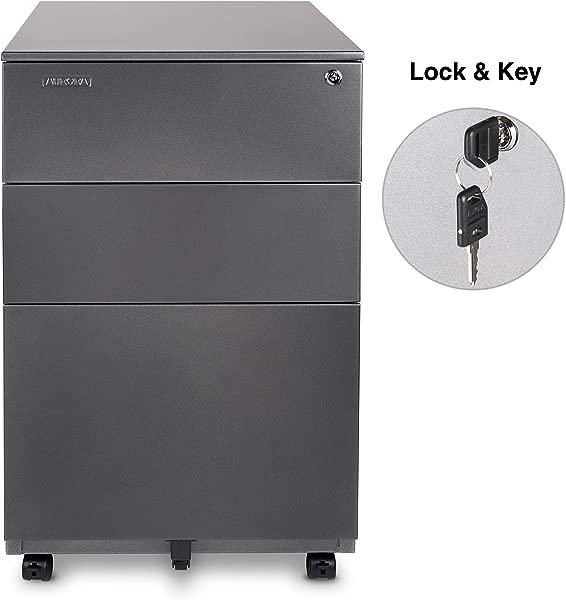 3 Drawer Metal Mobile File Cabinet With Lock Key Sliding Drawer Gunmetal