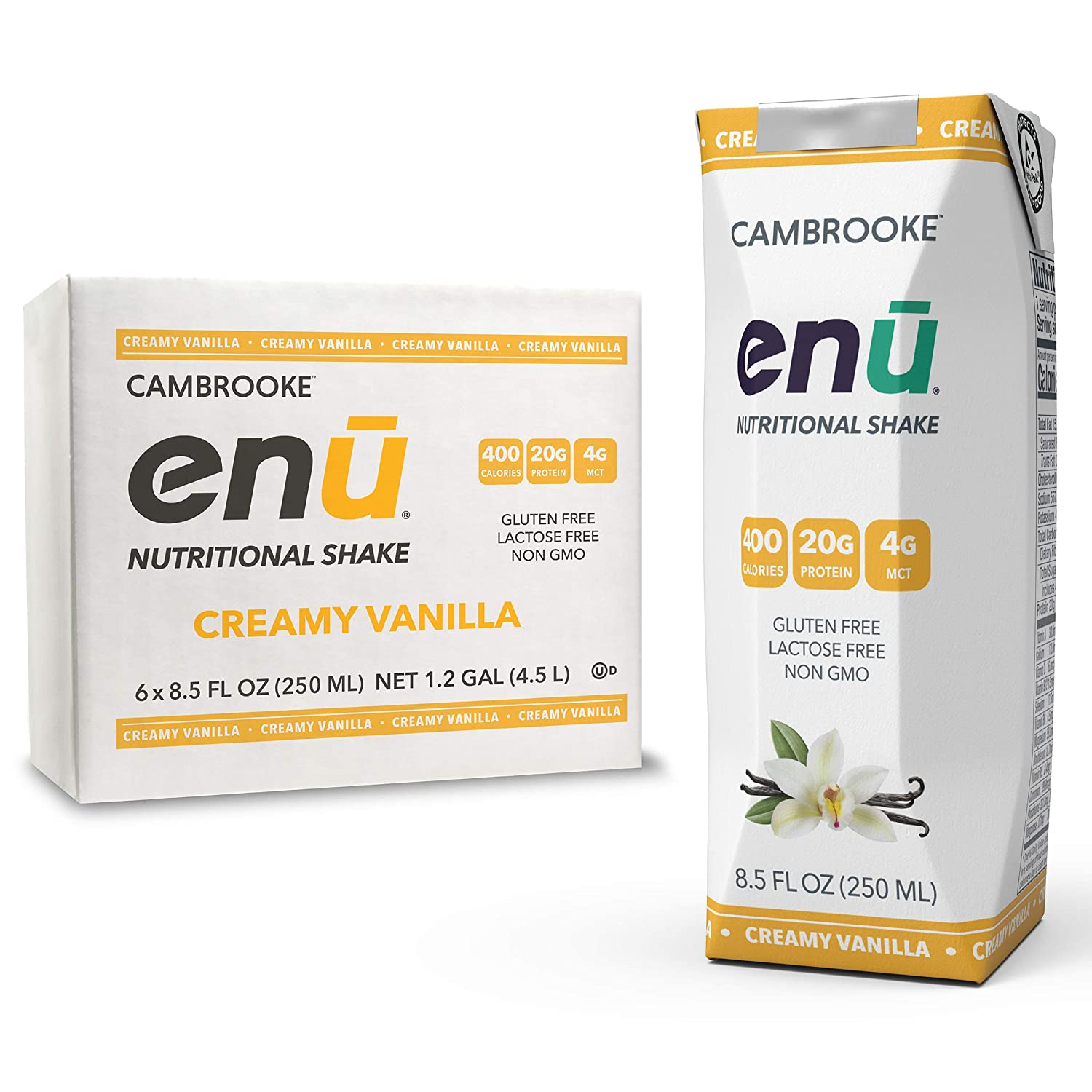 ENU RTD Vanilla Whey Protein Shake 20g (6 Pack) | Lactose & Gluten Free, Non-GMO Workout Drink For Muscle Gain | Healthy Weight Gain Nutrition Drink