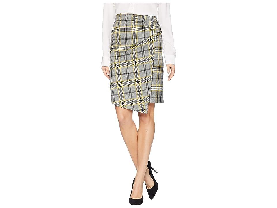 Ellen Tracy Bow Front Skirt (Glen Plaid/Citrine) Women
