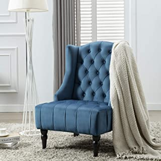 Altrobene Big Tall Velvet Accent Chair, Modern Living Room Bedroom Chair, Wingback, Tufted Nailhead, Wooden Legs, Navy Blue