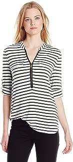 Calvin Klein Women's Modern Essential Zip Front Roll Sleeve Blouse