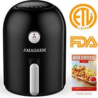 Updated 2020 Version AMAGARM Compact Air Fryer 1.6 Quart, 800 Watt Electric Air Fryer Oven Cooker with Temperature Control, Non Stick Fry Basket, Recipe Guide + Auto Shut off Feature