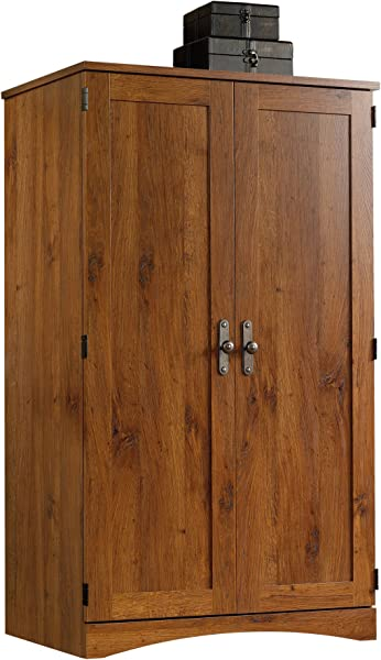 Sauder 404958 Harvest Mill Computer Armoire L 10 38 X D 19 50 X H 23 00 Abbey Oak Finish
