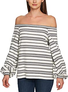 1.STATE Women's Off The Shoulder Jacquard Top