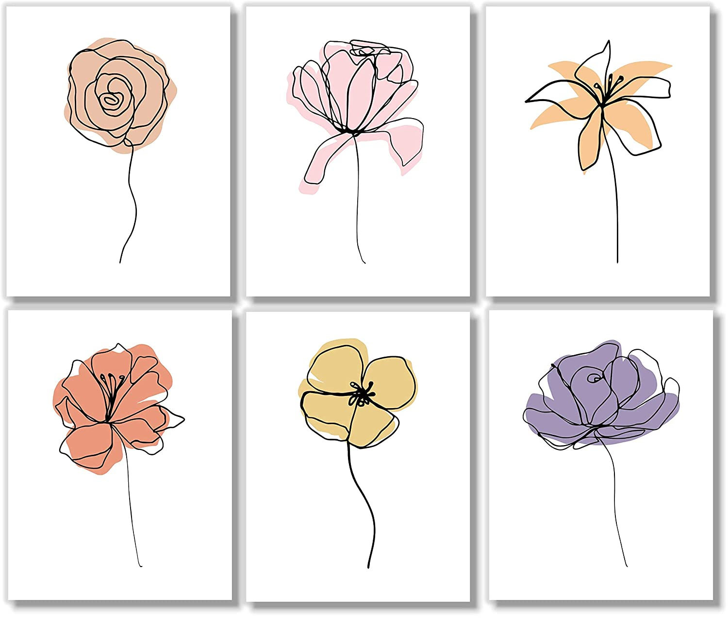 Line Art - Minimalist Wall overseas Floral Abstract Decor Botanical Pri Complete Free Shipping