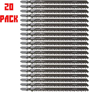 20Pack T344D Long Jigsaw Blades Set, HCS 6-Inch 6TPI T-Shank Contractor Straight-cut Jig Saw Blade Designed for Quick Cutting Thick Construction Timber, Softwood, Chipboards, Wood Core Plywood