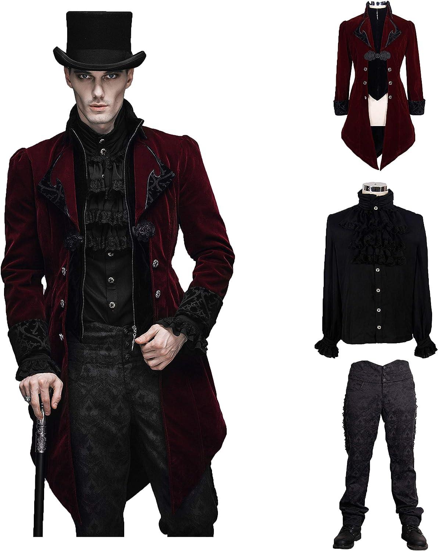 Devil Fashion Men Victorian Gothic Vintage 3-Piece Suit Tailcoat Shirts Pants Set