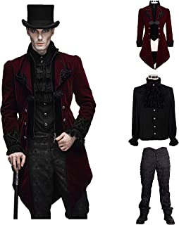 Men Victorian Gothic Vintage 3-Piece Suit Tailcoat Shirts Pants Set