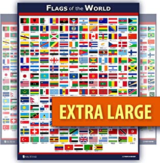 World Flags Educational Poster Laminated Young N Refined (18x30)
