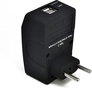 Ceptics UAE to Europe (most continental European countries) Universal Travel Plug Adapter (Type C) - 4 in 1-2 USB Ports - ...