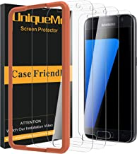 [4 Pack] UniqueMe Screen Protector for Samsung Galaxy S7 Tempered Glass,[Not Fit S7 Active / S7 Edge][Alignment Frame Easy Installation] 9H Hardness Bubble Free Tempered Glass with Lifetime Replacement Warranty