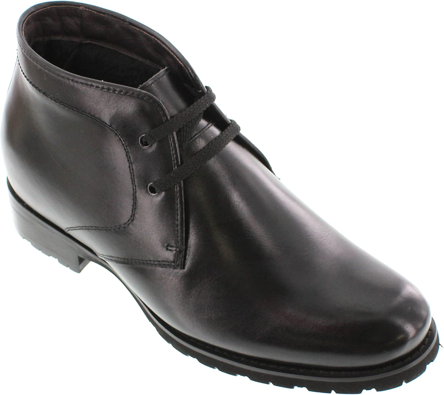 Toto Men's Invisible Height Increasing Elevator shoes - Black Premium Leather Lace-up Ankle Boots- 3 Inches Taller - X1812