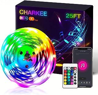 Tira de luces LED, luces LED inteligentes CHARKEE de 7,6 m, tira de cambio de color RGB con WiFi, funciona con Alexa y Goo...
