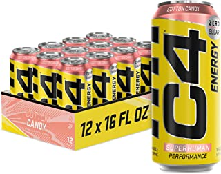 C4 Energy Carbonated Zero Sugar Energy Drink, Pre Workout Drink + Beta Alanine, Cotton Candy, 16 Fluid Ounce Cans (Pack of...