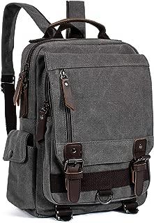 Leaper Retro Canvas Messenger Bag Backpack Travel Sling Bag Cross Body Bag Gray