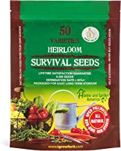 Heirloom Vegetable Seeds Non GMO Survival Seed Kit - Part of Our Legacy and Heritage - 50 Varieties 100% Naturally Grown- Best For Gardeners Who Raise Their Own Healthy Food