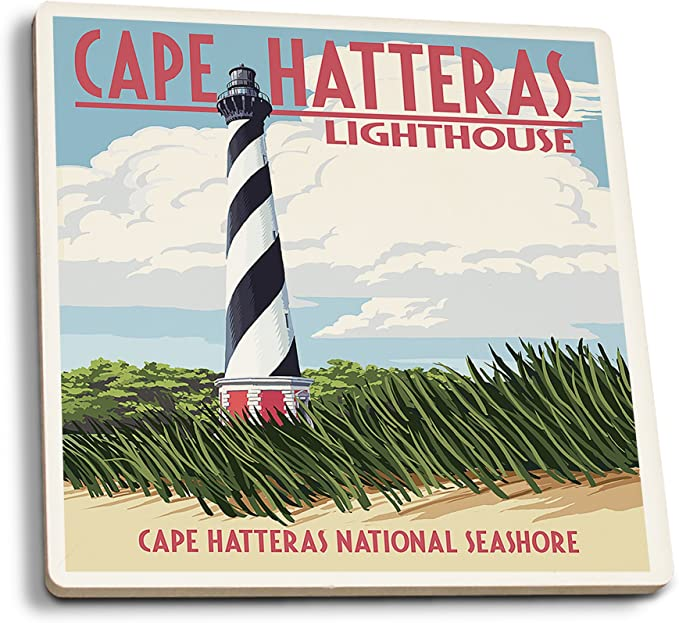 Amazon Com Lantern Press Outer Banks North Carolina Cape Hatteras Lighthouse Set Of 4 Ceramic Coasters Cork Backed Absorbent Posters Prints