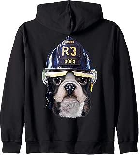 Cute French Bulldog wearing Firefighter Helmet Zip Hoodie