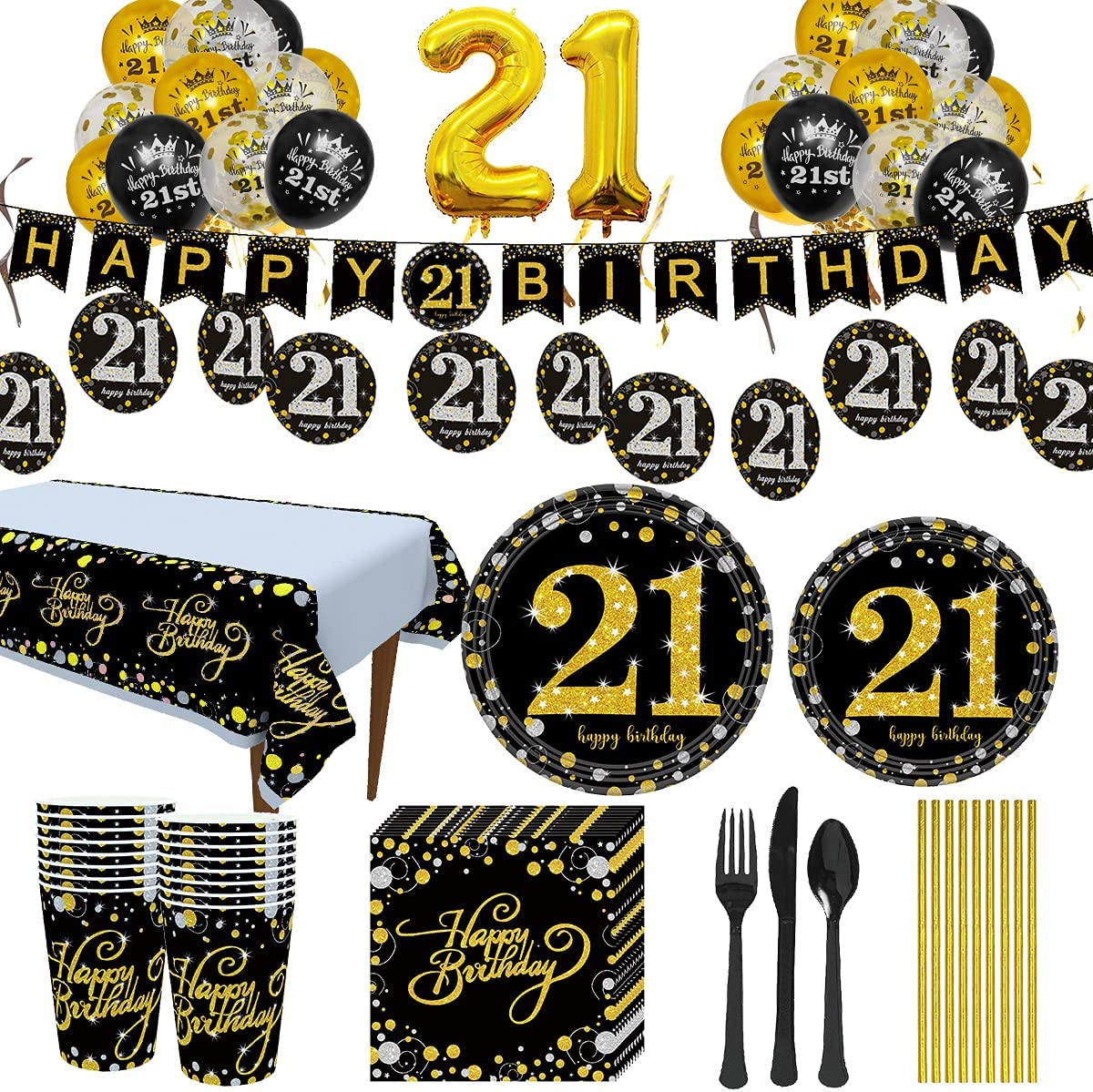 Trgowaul 21st Birthday Party Supplies Gold - Trust Disposabl and Black Large-scale sale