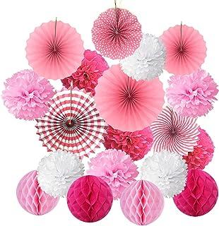 BUYGOO 21 Piezas Abanicos de Papel Bola de Nido Pom Poms Ventilador de Papel para Colgar Decoración para Cumpleaños Boda Carnaval Bebé Ducha Home Party Supplies Decoración - Rosa
