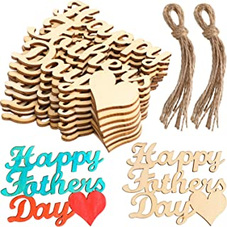 Boao 20 Pieces Father Wood Ornaments Idea Crafts Dad Mom Words Hanging Decor in Laser Cut for Mother or Father's Day (Happy Father's Day)